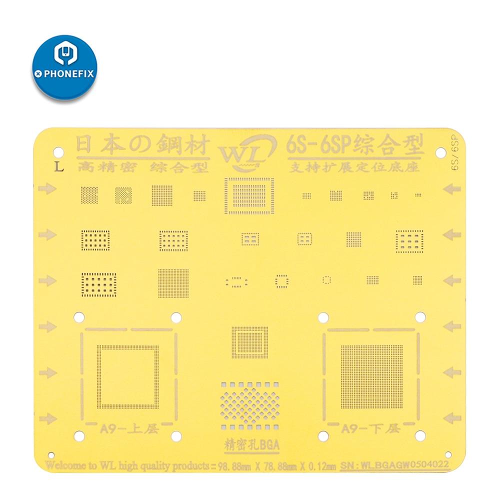 WL Golden BGA Reballing Stencil For IPhone 5 5C 5S 6 6P 6S 6SP 7 7P 8 8P X XR XS MAX Motherboard Repair Tin Planting Template
