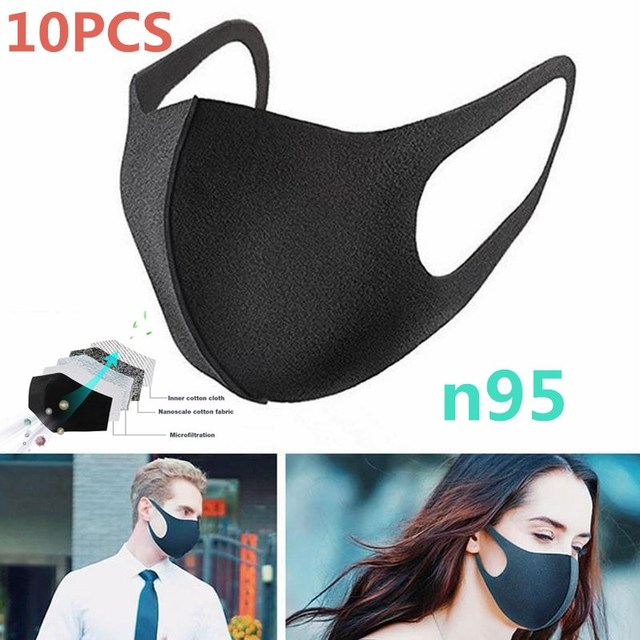 10Pcs/Lot Activated Carbon Windproof Mouth-muffle Bacteria Proof Flu Face Masks Mouth Anti Dust Mask  PM2.5/FPP3/N95