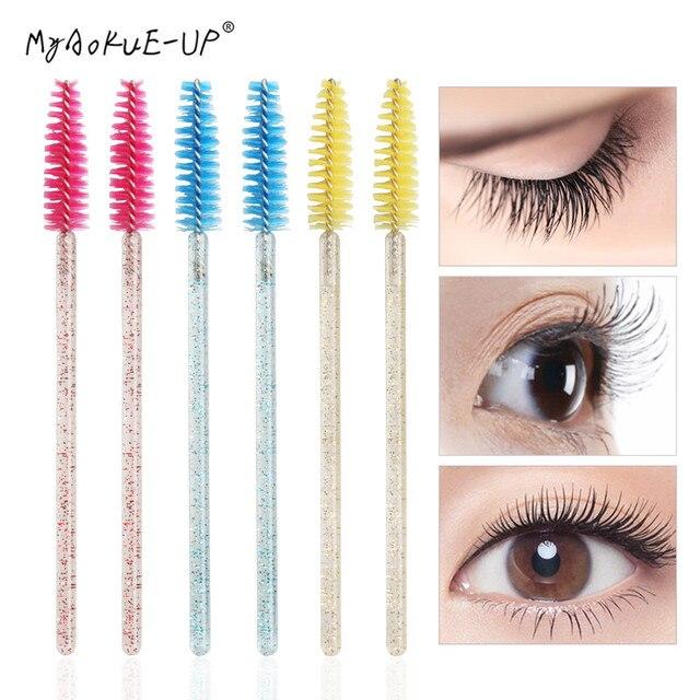50 pcs Cosmetic Eyelash Brush  Crystal Mascara Wands Applicator Diamond Eyelashes brushes Disposable Make Up brushes Tools 2