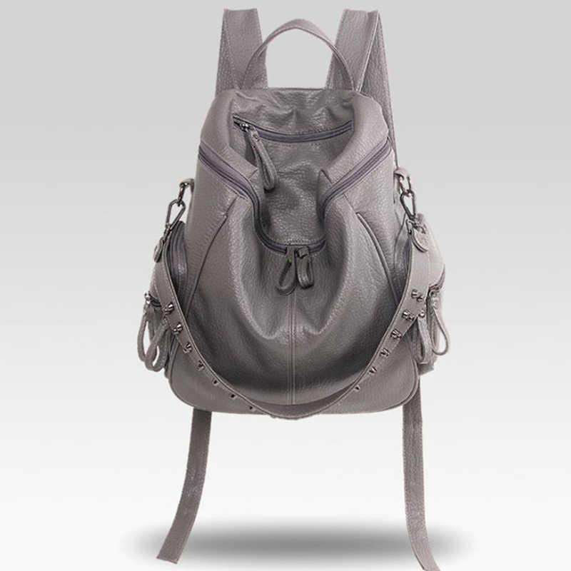 Bolsos escolares de cuero de calidad de mochila de moda Herald para niñas adolescentes mochila escolar grande Vintage bolsos de hombro sólidos