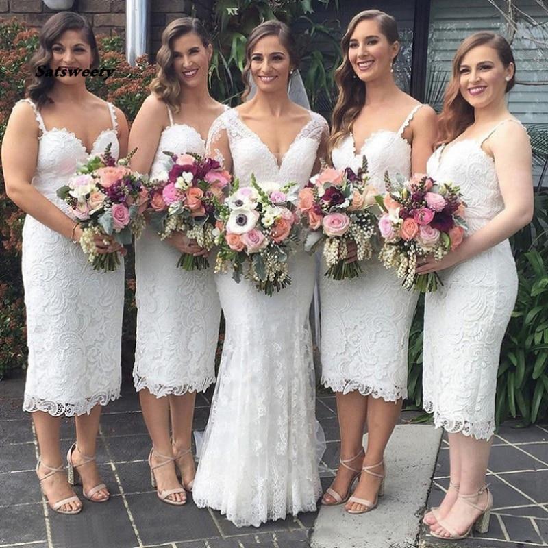 Vestido De Festa De Casamento Short Bridesmaid Dresses Outlet Sheath Sleeveless Spaghetti Straps Ankle-Length Lace Zipper Gowns