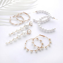 Fashion Oversize Simulated Pearl Hoop Earrings For Women 2019 New Big Geometric Round Earring Female Fashion Jewelry Brincos(China)