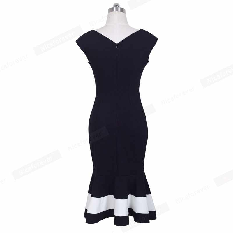 니스-영원히 빈티지 우아한 패치 워크 인어 vestidos 비즈니스 파티 bodycon 여성 드레스 b221