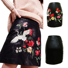 FREE SHIPPING 2019 LEATHER LOOK WOMEN EMBROIDERY BLACK MINI SKIRT PU UK SIZE SKIRT LADIES SKIRTS leather look pencil skirt in gold