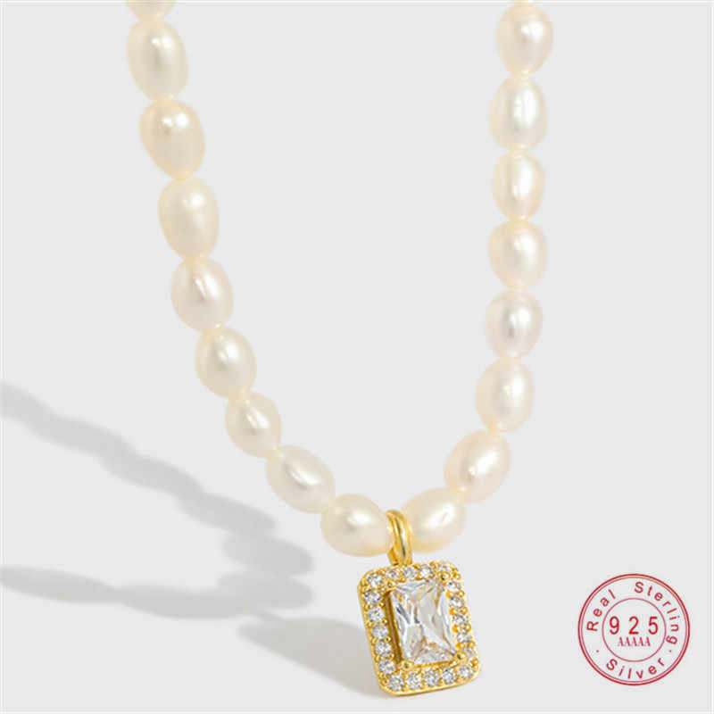 collier de perles S925 Collier Pendentif Véritable eau douce perle pendentif