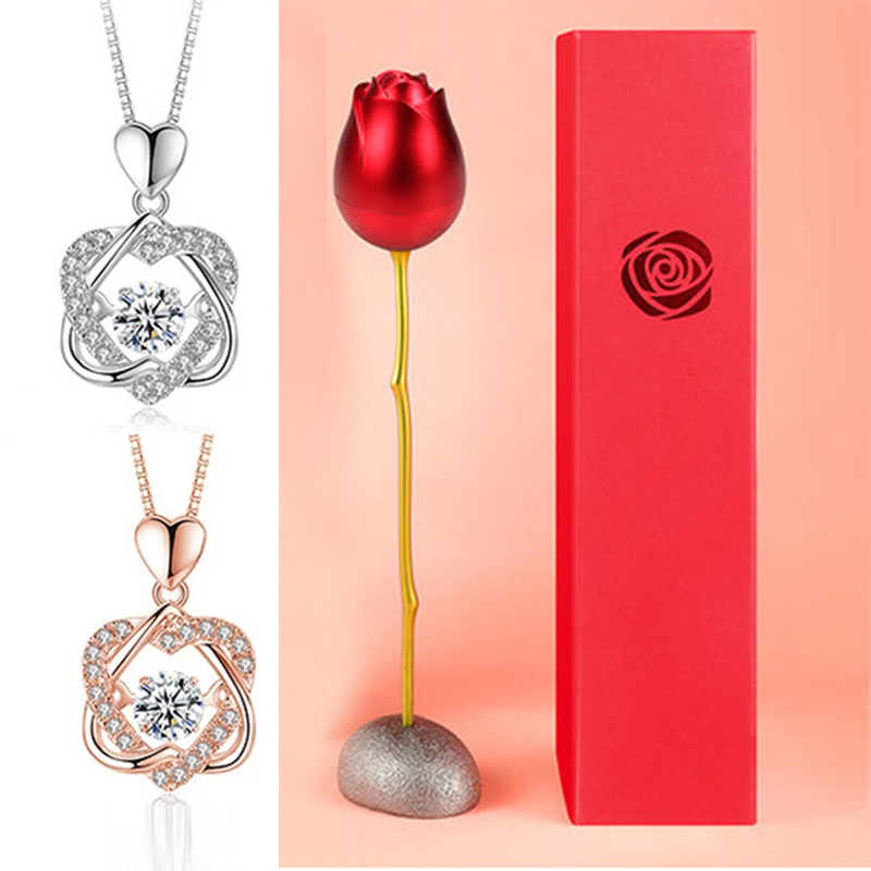 HEART NECKLACE SET WITH ROSE 1