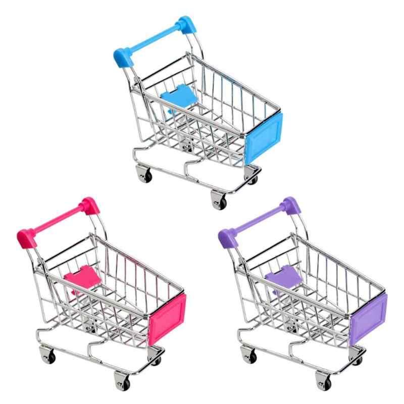 عربة أطفال صغيرة سوبر ماركت عربة يد عربة تسوق صغيرة سطح المكتب الديكور تخزين لعبة التظاهر اللعب عربات أطفال