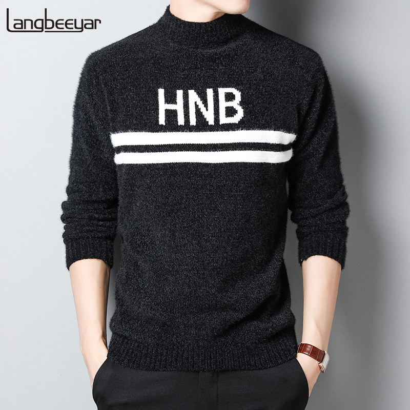 2019 Thick New Fashion Brand Sweater Mens Pullovers Slim Fit Jumpers Knitred Turtleneck Winter Korean Style Casual Mens Clothes