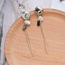 baroque Korean  creative retro long pearl tassel earrings  fashion  drop  jewelry trendy bohemian earrings цена