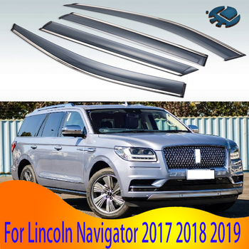 For Lincoln Navigator 2017 2018 2019 Plastic Exterior Visor Vent Shades Window Sun Rain Guard Deflector 4pcs