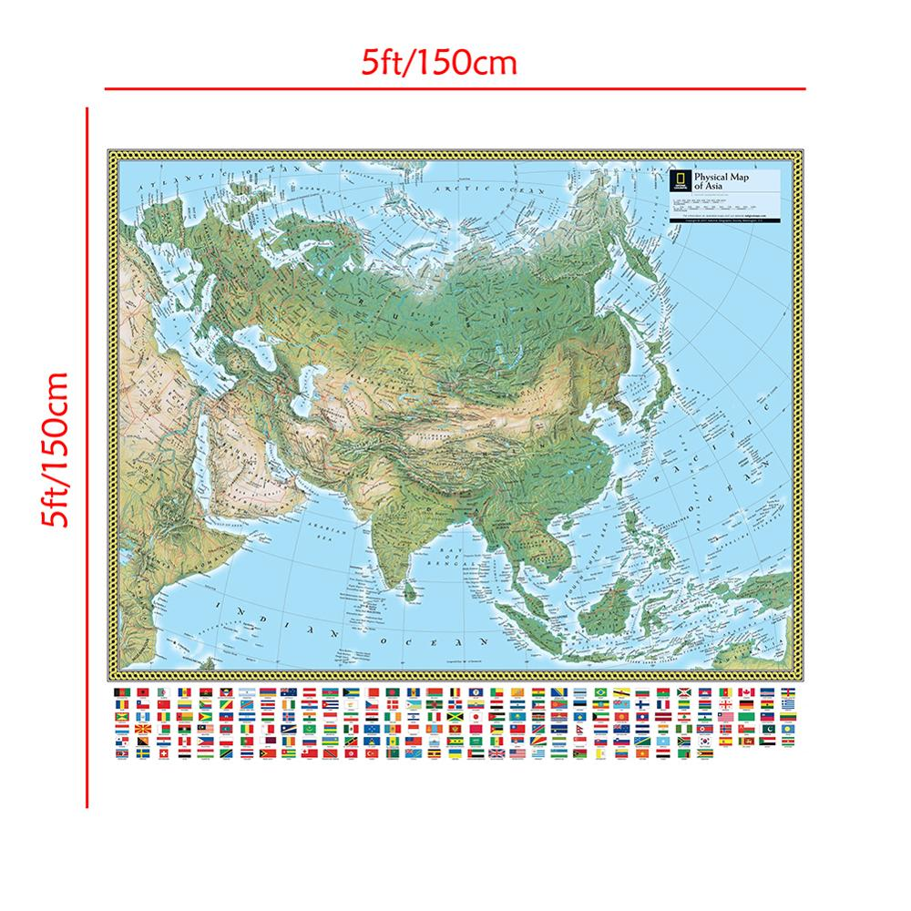 The Physical Map Of Asia 150x150cm Non-woven Asia Map With National Flag For Culture And Education