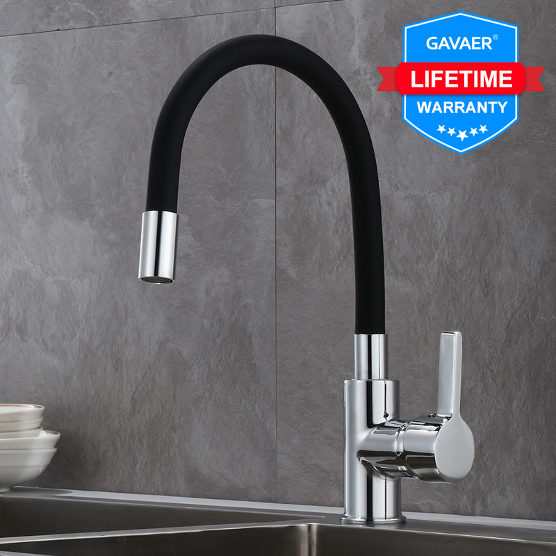 Gavaer Silica Gel Nose Any Direction Rotating Kitchen Faucet Kitchen Faucet Modern Style Flexible Kitchen Sink Mixer Faucet Taps