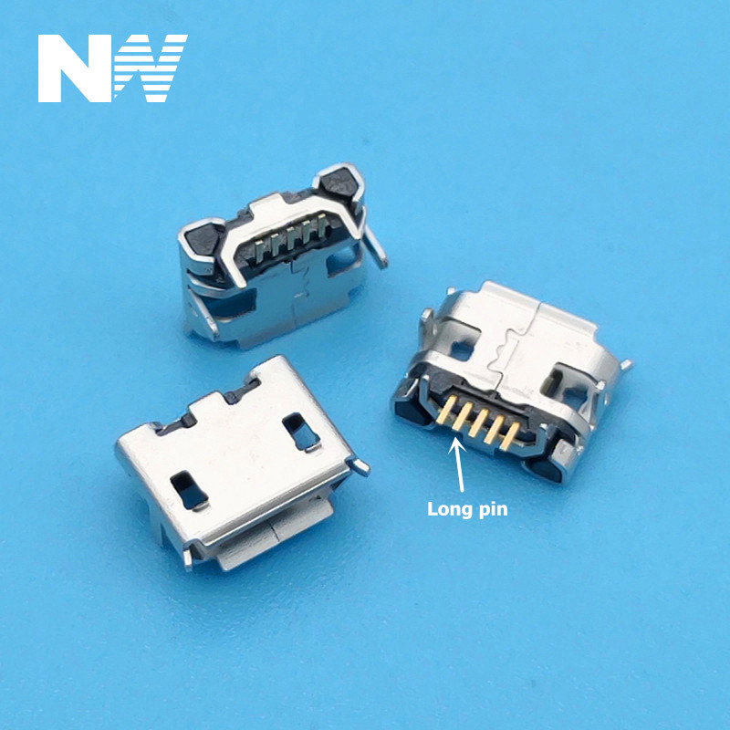New high quality 100pcs <font><b>Micro</b></font> <font><b>USB</b></font> <font><b>Connector</b></font> Jack Female Type 5Pin SMT Tail Charging socket <font><b>PCB</b></font> Board image
