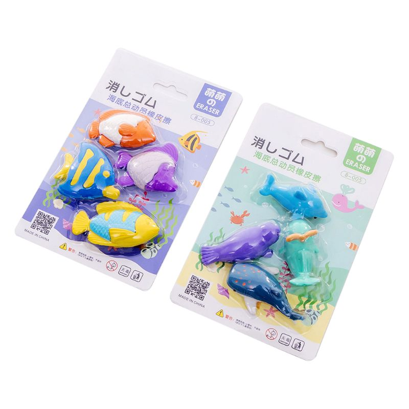 4pcs/set Creative Ocean Animal Pencil Rubber Eraser School Student Korean Stationery Correction Supplies For Kids Gifts