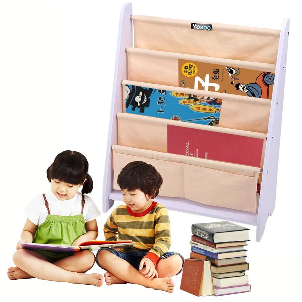 Organizer-Holder Book-Shelf Wood Sling Display Storage-Rack Home-Decoration Kids 5-Tier