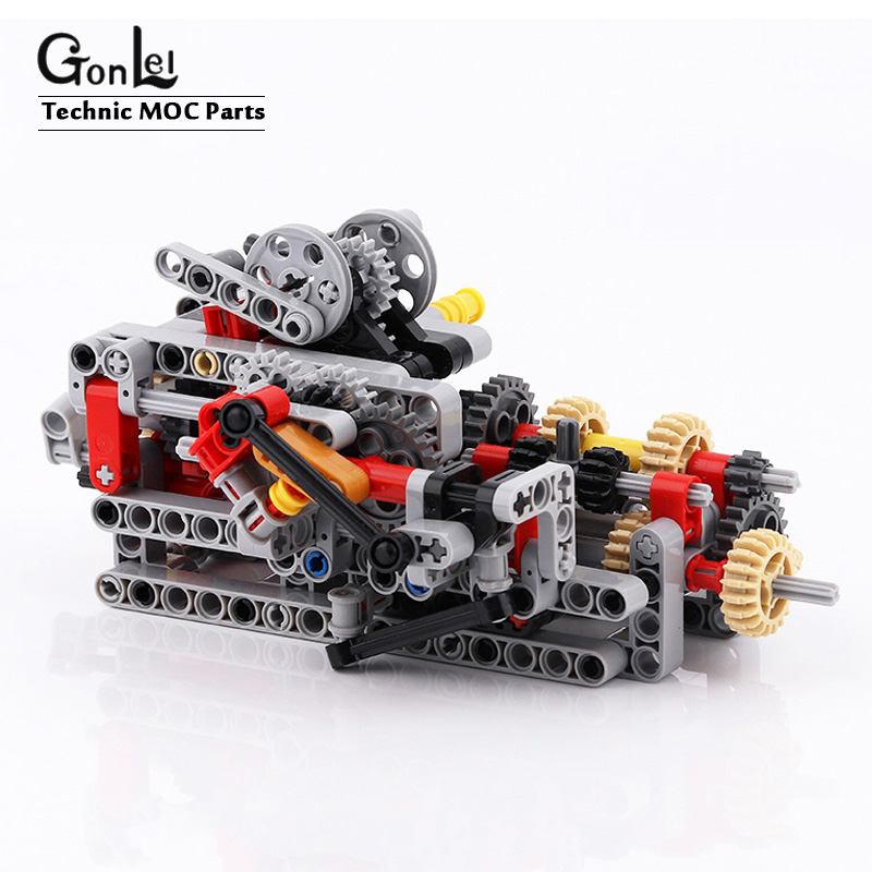 Technic 8 prędkości sekwencyjna skrzynia biegów silniki napędowe System klocki klocki części luzem zabawka pasuje do MOC Technic części samochodowe zestaw