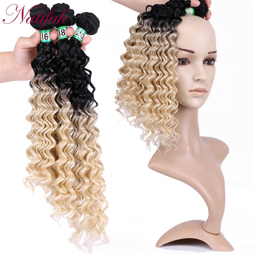 Natifah Ombre głębokie pasma falowanych włosów 16-20 Cal Ombre blond srebrny szary rude włosy wyplata wiązki 70 g/sztuk syntetyczne doczepy do włosów