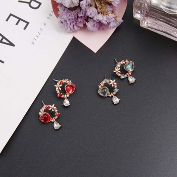 2019 New Arrive Korean Crystal Love Heart Stud Earrings For Women Sweet Bowknot Wreath Rhinestone Long Pendientes image