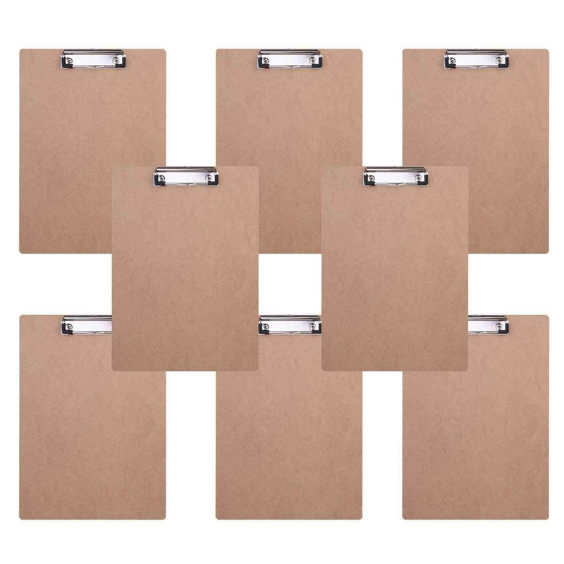 HOT-Boy Vintage A4 File Clipboard Rounded Corners Drawing Writing Board Heavy Duty Clip Menu Board With Hanging Hole (8 Pcs)