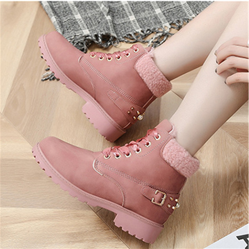 BOOTS Ankle women winter platform lace up casual round winter snow boots