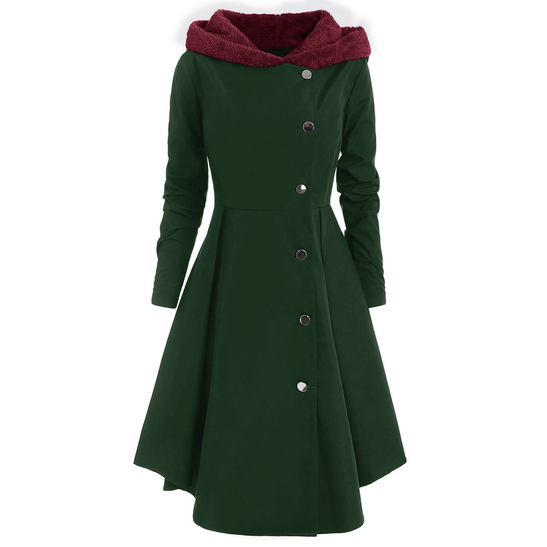 High Waist Vintage Button Hooded Thicken Shopping Warm Daily Casual Slim Solid Soft Long Women Coat