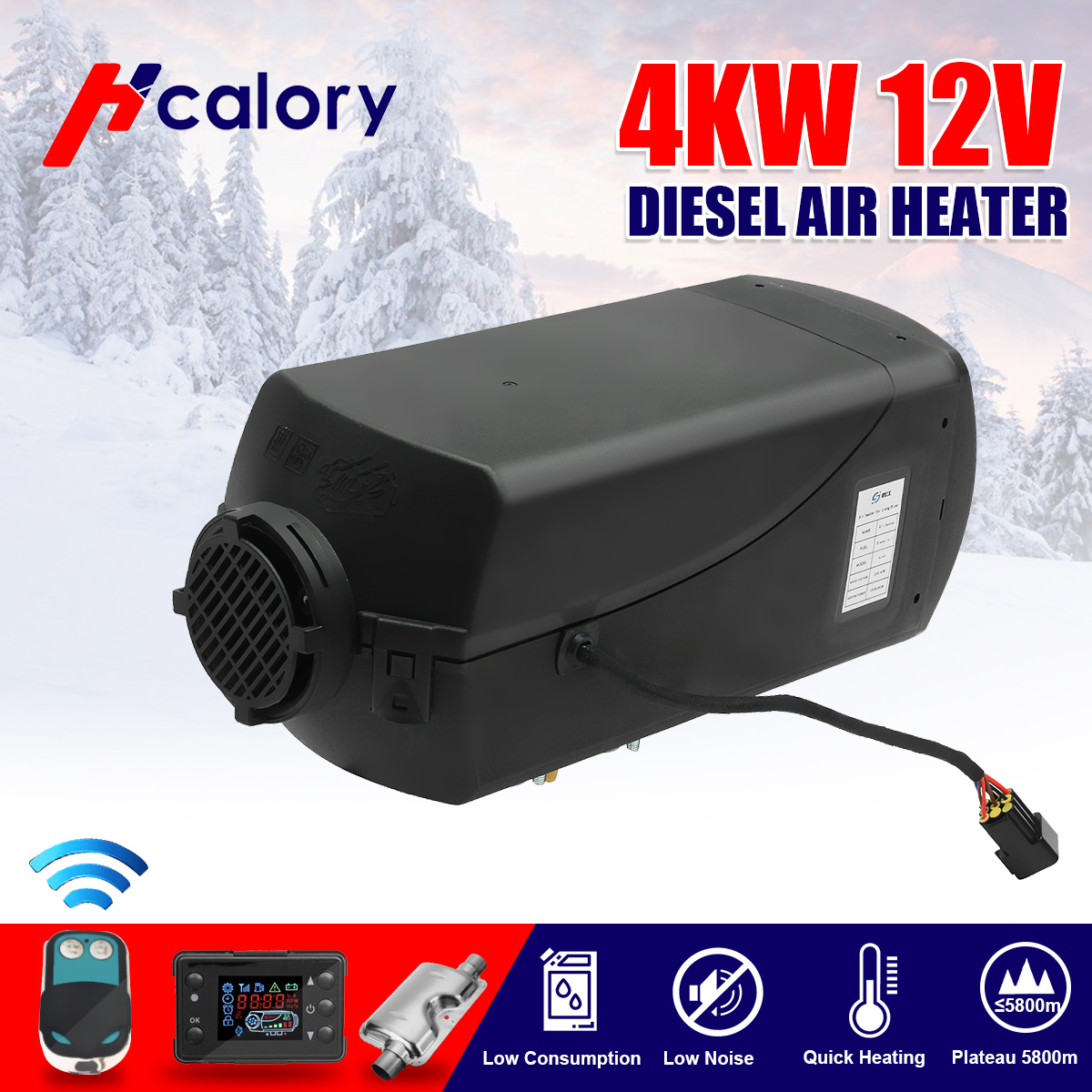 Car Heater 4KW 12V Air Diesels Heater Parking Heater LCD Knob Switch + Silencer +Remote Control For RV, Motorhome Trailer, Truck