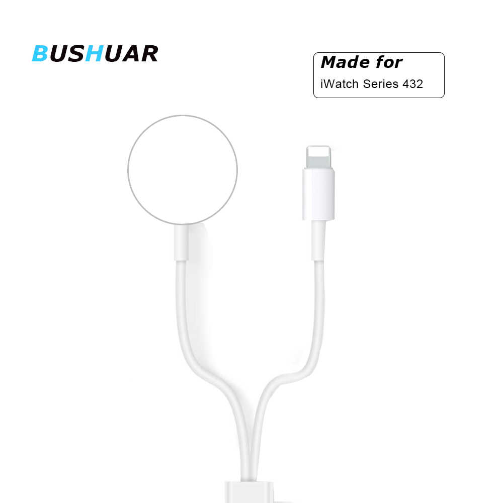 BUSHUAR 2 en 1 cargador inalámbrico rápido para Apple Watch Series 1 2 3 4 Cable de carga magnética USB para iPhone X Xs MAX XR 8 plus