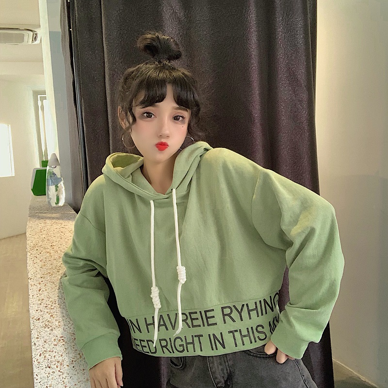sweet hooded letter loose full Korean style Spring and autumn ladies tops Women's Clothing fashion brand high quality Hoodies 1