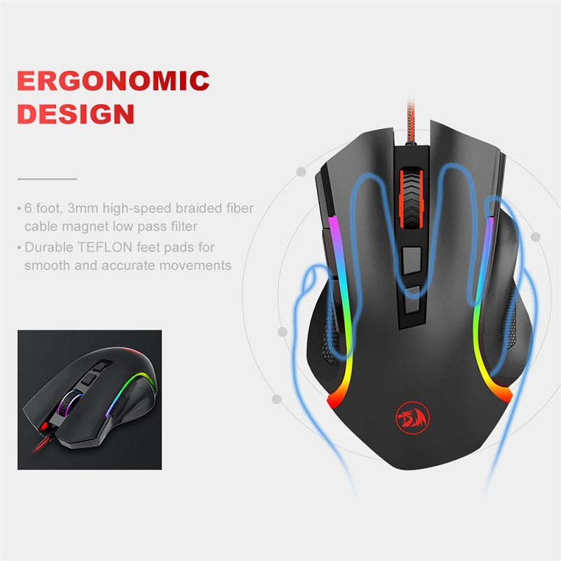 Wired Gaming Mouse 7 Button 7200 DPI LED Opto-electronic USB Finger Computer Gamer For Laptop Desktop