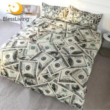 BlessLiving 3D מודרנית מצעים דולר מוטיב מודפס שמיכה כיסוי חי שמיכת כיסוי 3 חתיכות כסף דפוס מיטת סט Dropship