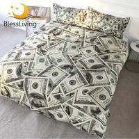 BlessLiving 3D Modern Bedding Set Dollar Motif Printed Duvet Cover Vivid Comforter Cover 3 Pieces Money Pattern Bed Set Dropship