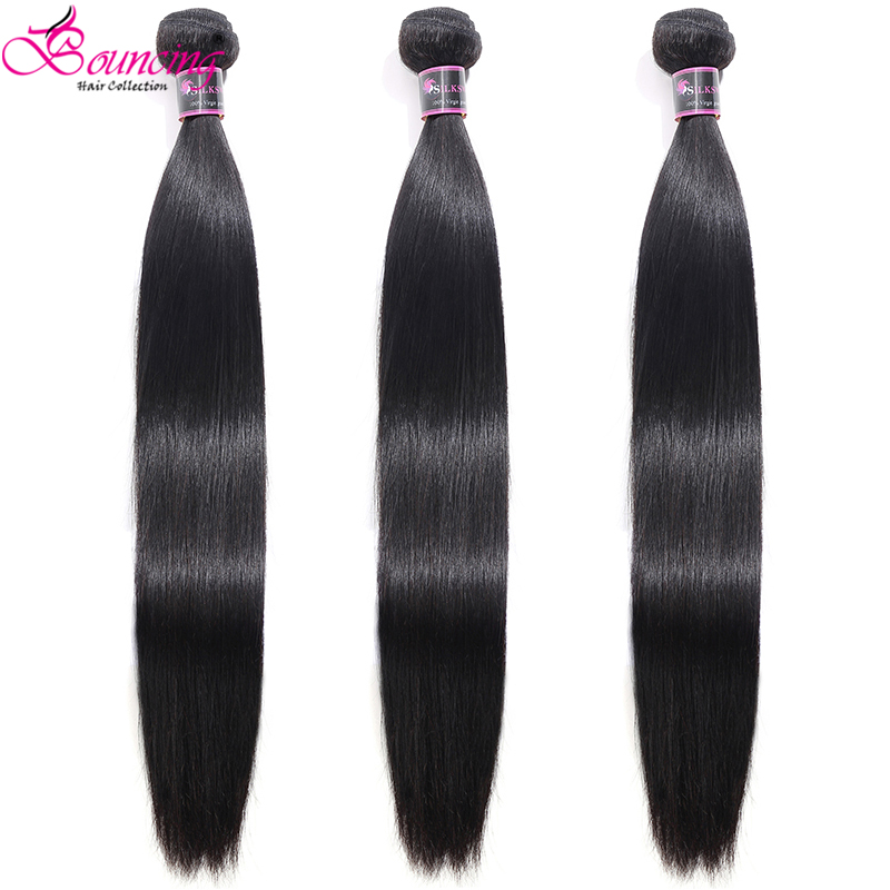 Bouncing Straight Brazilian Hair-Weft Human-Hair Remy Double-Machine 10-40inch Women title=