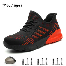 Summer Breathable Safety Work Shoes For Men Steel Toe Cap Indestructible Work Boots