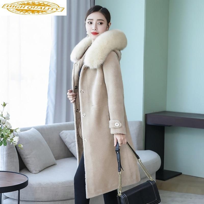 Winter Real Fur Coat Women Clothes 2020 Long 100% Wool Jacket Fox Fur Collar Korean Coats Manteau Femme 099 KJ3613