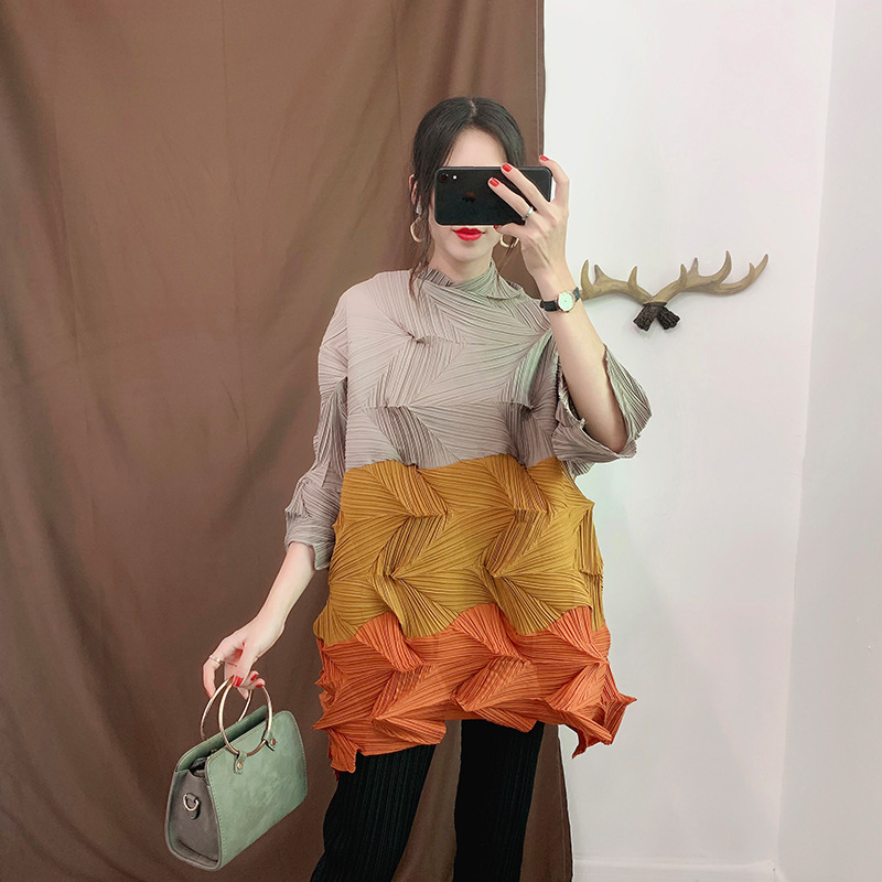 LANMREM vert contraste col montant manches courtes plissée Plus femme Long T-Shirt décontracté Simple mode 2019 automne nouveau TV723 - 2