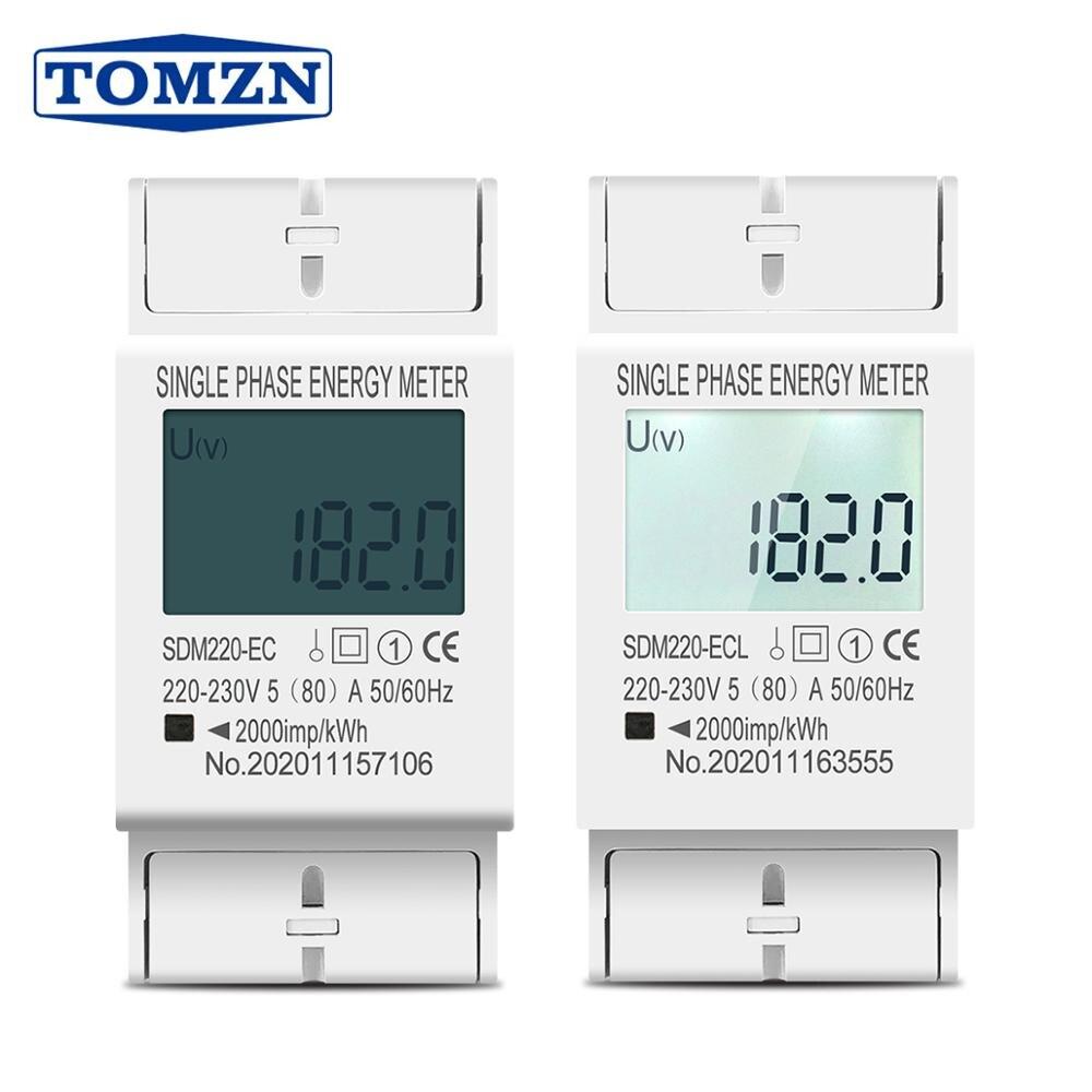 Medidor bonde kwh da energia do consumo de energia da indicação digital do lcd da c.a. 220v 230v 50hz/60hz da fase monofásica dois do trilho do ruído 80a