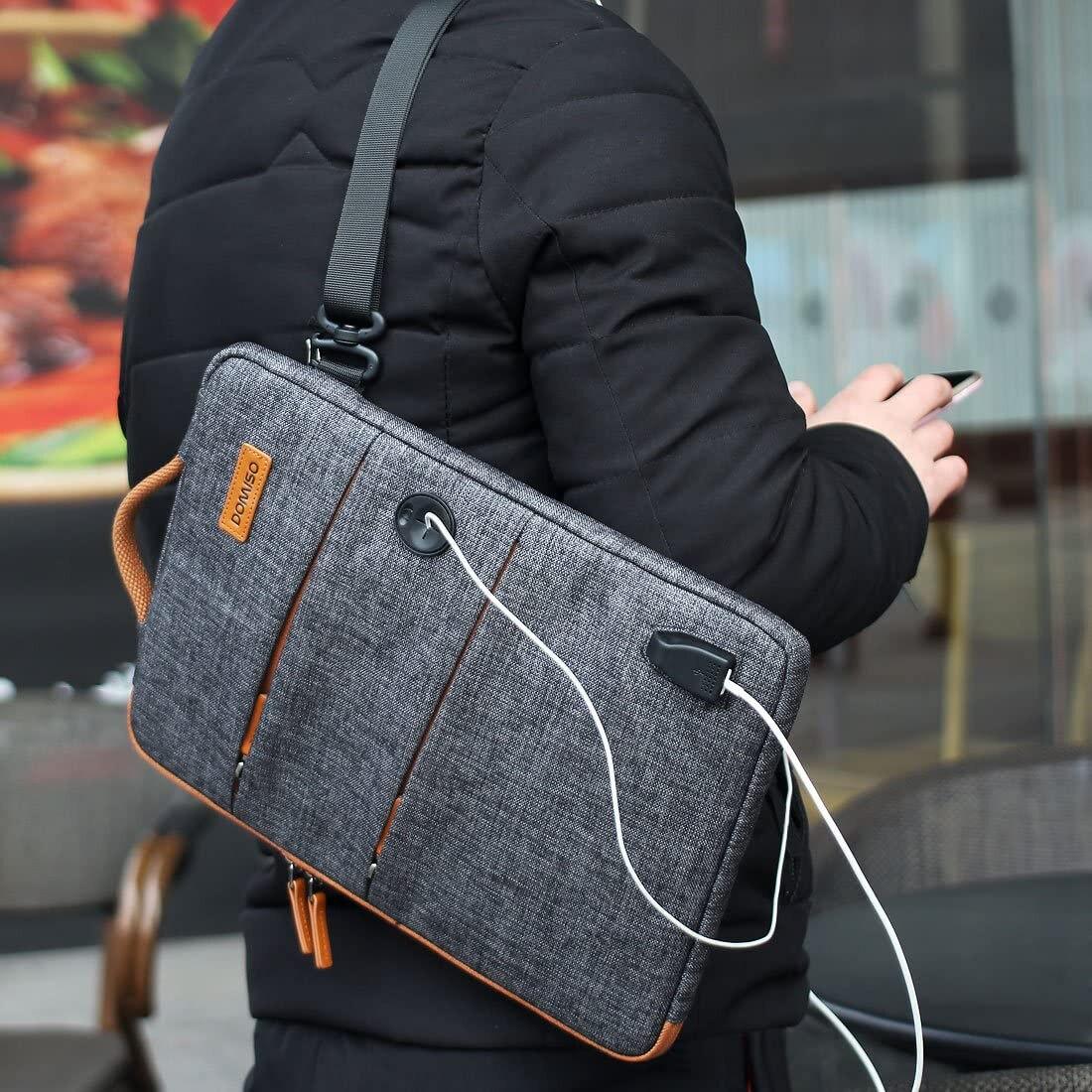 Domiso 11 13 14 15.6 17.3 Inch Waterdichte Laptop Tas Polyester Met Usb-poort Opladen Hoofdtelefoon Gat Voor Lenovo Acer huawei Hp 6
