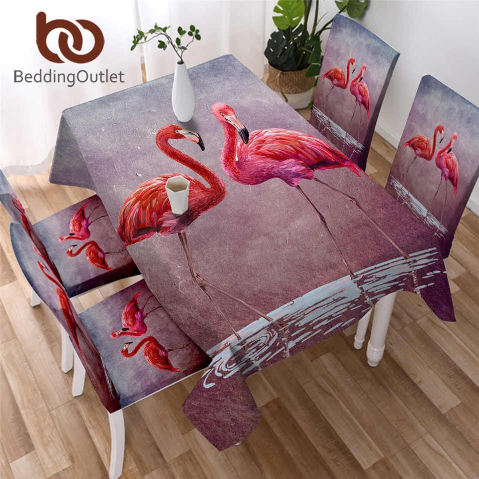 BeddingOutlet flamants roses Polyester nappe aquarelle Animal dîner Table tissu rose décoratif Table couverture avec housses de chaise