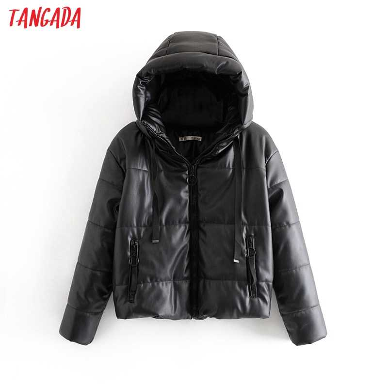 Tangada Women black fur faux leather jacket coat oversized zipper 2019 Winter Female Thick pu hooded jacket Overcoat 6A170