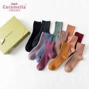 Image 2 - משלוח חינם 12 זוגות\קופסא Caramella גרבי חורף אופנה מוצק צבע נשי ארוך מצרך כותנה כפול מחט גרבי 51612