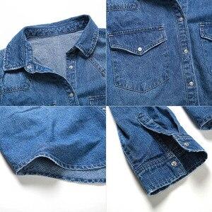 Image 5 - 11.11 סתיו חורף נשים ג ינס חולצה בסיסית רופף מזדמן ארוך שרוול עם 2 כיסי 100% כותנה שטף כחול נשי חולצה למעלה