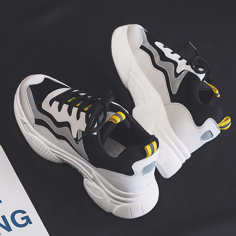 Black Sneakers Women Fashion Vulcanized Shoes Woman Designer Platform Chunky Sneakers Ladies Trainers Lace Up Spring Female Flat