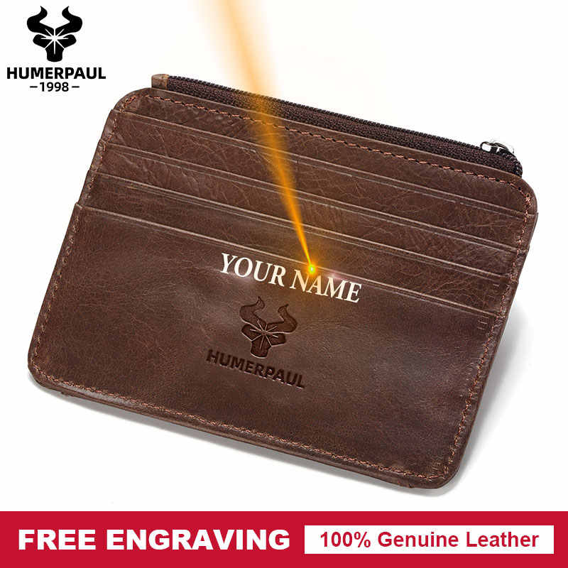 Free Engraving 100% Cow Genuine Leather Card Holder Capacity Zipper Female Fashion Men Women ID Card Wallets With Coin Purse