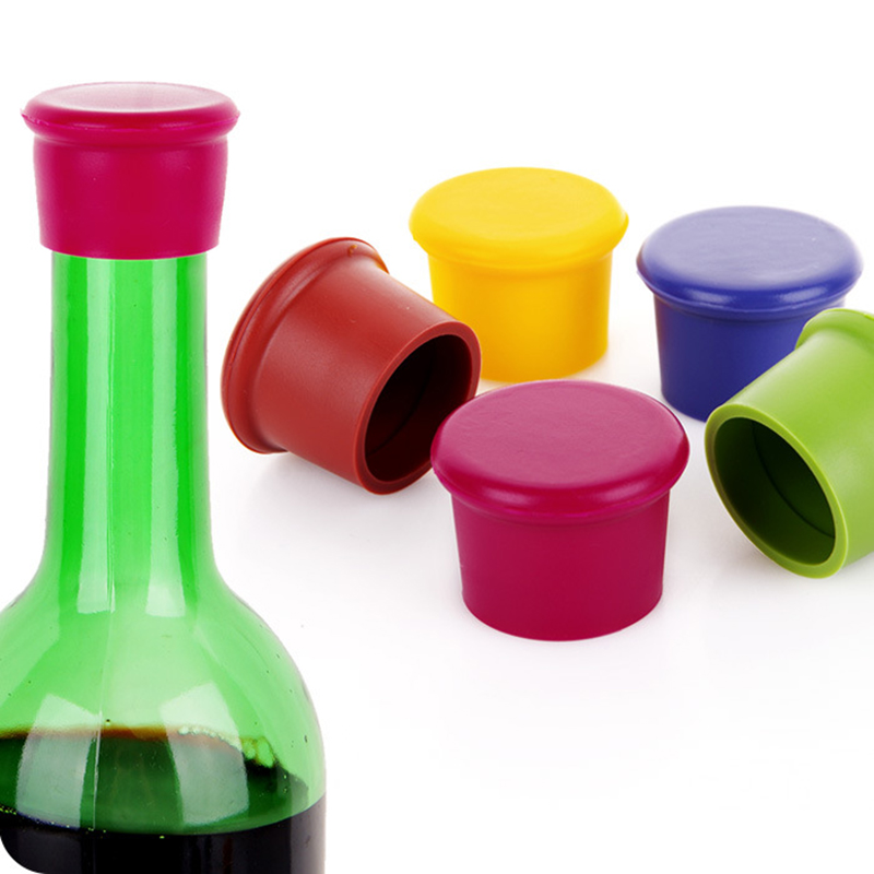 1PCS Silicone Red Wine Stoppers Food Grade Beer Beverage Bottle Caps Sealers Leak Free Fresh Keeping Plug for Kitchen Bar Tool