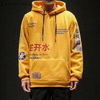 LIFENWENNA Boiling Water Printed Pullover Hoodies Men Autumn Casual Hooded Streetwear Sweatshirts Hip Hop Harajuku Male Tops 5XL