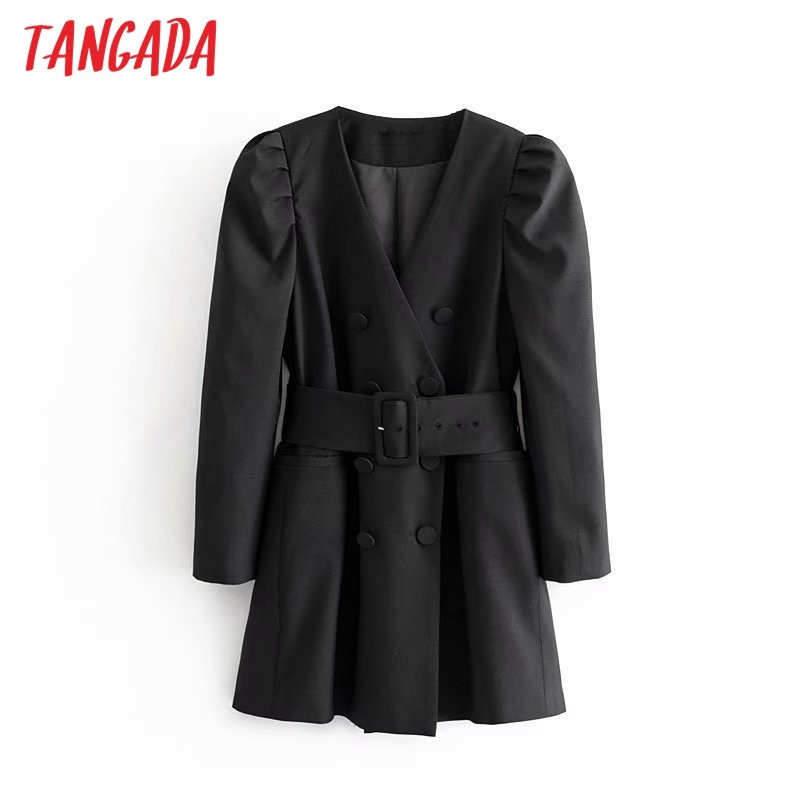 Tangada women elegant black blazer dress with belt long sleeve 2019 vintage style females office lady mini dresses vestidos 6P20