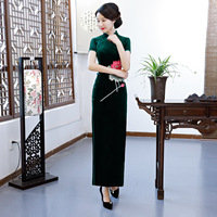Sexy Slim High Split Qipao Chinese Style Classic Mandarin Collar Cheongsam Elegant Velvet Vestidos Lady Chinese Dress Plus Size
