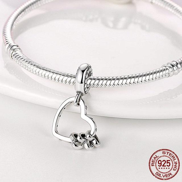 925 Sterling Silver Family Tree Star Moon Beads Heart Hamsa Fatima Hand Charm fit Original Pandora bracelet Silver 925 Jewelry 4