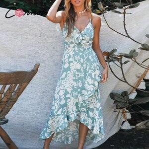 Image 1 - Conmoto lato wzburzyć plaża długie sukienki w stylu casual kobiety sexy spaghetti pasek sukienka damska kwiatowy, bez pleców plus rozmiar sukienka vestidos