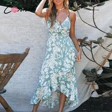 Conmoto verano volantes playa casual vestidos largos mujeres sexy Correa espagueti damas vestido floral sin espalda de talla grande vestido vestidos